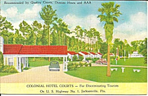 Jacksonville FL Colonial Hotel Courts Postcard p33235 (Image1)