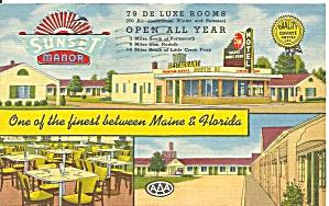 Portsmouth VA  Sunset Manor Motel Postcard p33237 (Image1)