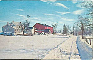 Amish Farm Scene in Winter Postcard p33243 (Image1)