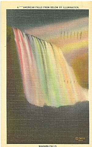 American Falls From Below Illuminated Postcard p33311 (Image1)