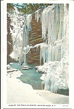 Watkins Glen Ny Glen Of The Pools In Winter Postcard P33314