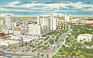 Miami FL Bicayne Blvd Looking North Postcard p33460 (Image1)