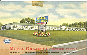 Decatur IL  Motel Orlando Postcard p33465 (Image1)