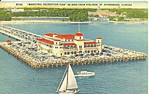 St Petersburg FL Municipal Pier Postcard p33486 (Image1)