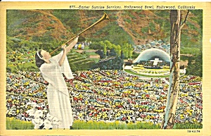 Hollywood Bowl Easter Sunrise Service Postcard P33491