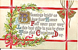 Divided Back Christmas Postcard Embossed p33541 (Image1)