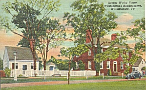 Williamsburg VA George Wythe House Postcard p33665 (Image1)