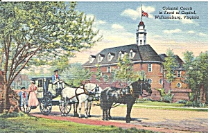 Williamsburg VA Colonial Coach Postcard p33667 (Image1)