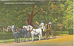 Williamsburg Va Colonial Coach And Four Postcard P33671