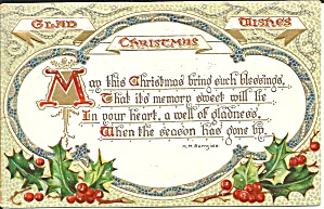 Raphael Tuck Christmas Text Series Postcard P33681