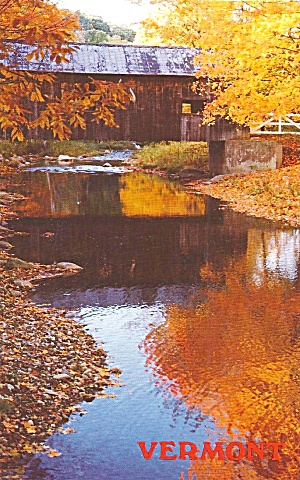 Vermont Covered Bridge Autumn Scene P33844