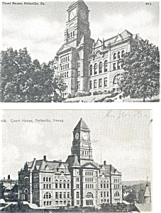 Pottsville PA Court House Postcards Lot of 2 p3391 (Image1)