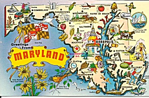 State Map of Maryland Postcard p33997 (Image1)