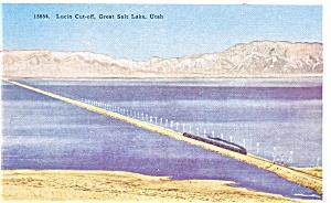 Southern Pacfic Train On Lucin Cutoff  Postcard p3408 (Image1)