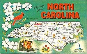 North Carolina Map Postcard p34171 (Image1)