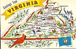 Virginia State Map Postcard P34287