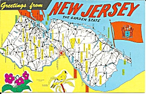 State Map Of New Jersey Postcard P34292