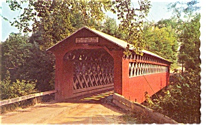 Covered Bridge Manchester   VT Postcard (Image1)