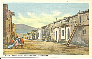 Pueblo Of Acoma Nm Street Scene Fred Harvey P34552
