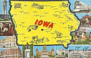 State Map Of Iowa Postcard P34580