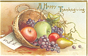 Thanksgiving Apples and Pears Postcard p3481 (Image1)