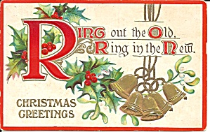 Ring Out The Old Christmas Post Card Embossed P34957
