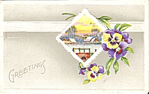 Greetings Postcard Violets Lake Scene p34958 1911 (Image1)