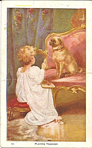 Playing Teacher Little Girl And Dog Postcard P35056