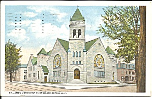 Kingston Ny St James Methodist Church 1921 Postcard P35170