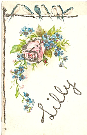 Vintage Postcard with Glitter Marked Lilly p35202 (Image1)