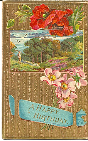 Birthday Greetings Vintage Postcard Embosed p35217 (Image1)