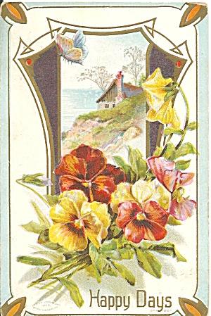 Vintage Birthday Divided Back card embossed p35225 (Image1)