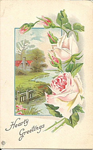 Hearty Greetings Divided back card p35243 (Image1)