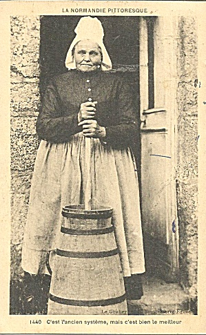 French Woman With Butter Churn Postcard P35298