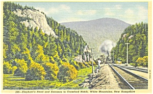 Steam Train in Crawford Notch NH Postcard p3529 (Image1)