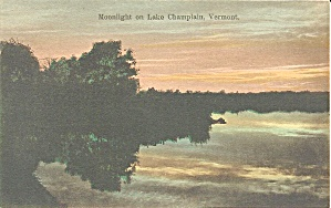 Moonlight On Lake Champlain Vt Vintage Postacard P35481