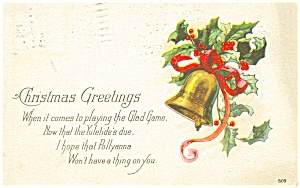 Christmas Bell and Holly Postcard p3551 (Image1)