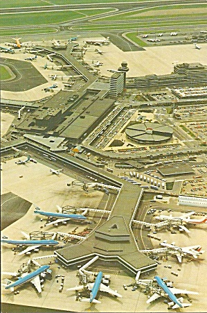 International Airport Schiphol Amsterdam Postcard P35566