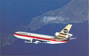 Continental Airlines Dc-10 Postcard P35581