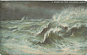 Storm on the Atlantic 1913 postcard p35737 (Image1)