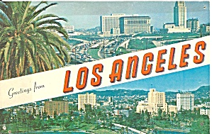 Los Angeles CA Two Views postcard p35750 (Image1)