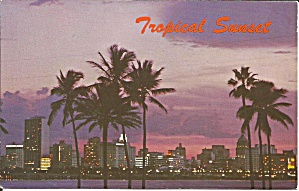 Tropical Sunset Over The Magic City Miami Postcard P35755