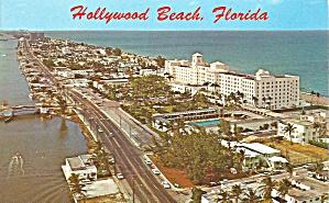 Hollywood Beach FL Aerial View postcard p35757 (Image1)