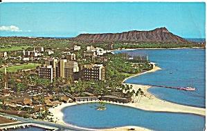 Wakiki HI Hilton Hawaiian Village 1965 postcard p35775 (Image1)