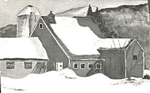 Winter Farm Scene 1973 postcard p35820 (Image1)