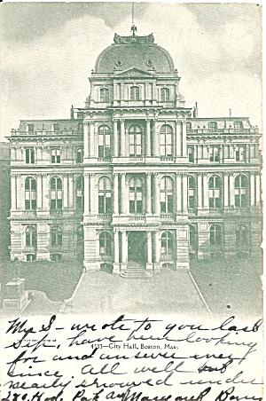 Boston MA City Hall 1907 postcard p35861 (Image1)