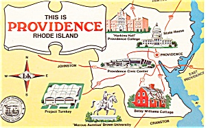 Providence Rhode Island Map Postcard p3587 (Image1)