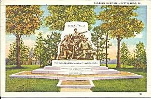 Gettysburg PA Alabama Memorial postcard p35959 (Image1)