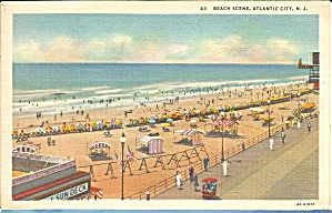Atlantic City Nj Beach Scene Postcard P35983