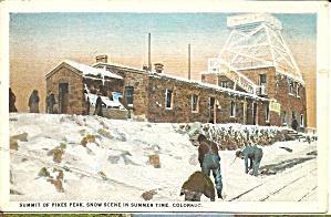 Pikes Peak CO Summit Summer Scene postcard p35985 (Image1)